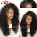Толстые Вьющиеся Волосы Парики Glueless Парик Фронта Шнурка Бразильского Виргинские Человека волосы Плотность 180% Полный Парик Шнурка Для Чернокожих Женщин Kinky Вьющиеся