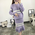 2016 Fashion Women Autumn Long Sleeve Striped Sweater Tops + Dress 2 Piece Sets Brand Ladies Knited Fishtail Skirt Suit Twinset