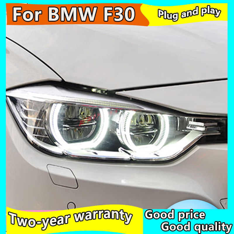 Car Styling for <font><b>BMW</b></font> 316i 320i 328i 335i <font><b>Headlights</b></font> 2013-2015 <font><b>F30</b></font> F35 <font><b>LED</b></font> <font><b>Headlight</b></font> <font><b>LED</b></font> Angel Eyes <font><b>Headlight</b></font> assembly image