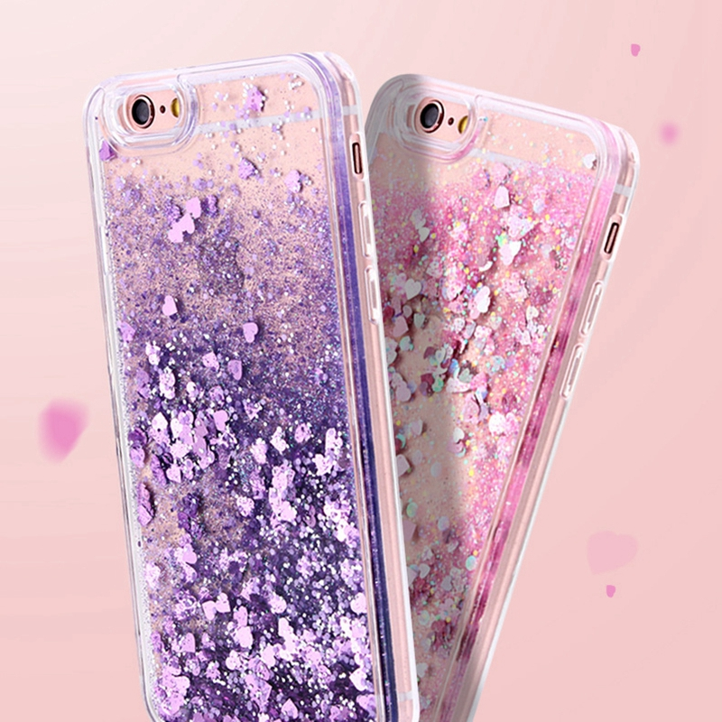 Fashion Lovely Heart Bling Glitter Liquid Quicksand Phone Case For iphone 5 5S 6 6S 7 8 Plus X Soft Cover For Samsung S8 S9 Plus