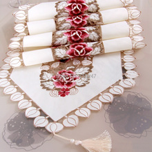 New Hot 40*150cm Embroidery Table Runner Satin Polyester Embroidered Floral Handmade Cutwork Table Cloth Cover Decors Textile