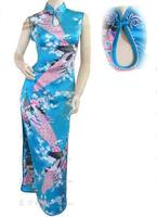 Light Blue Summer Vintage Chinese Women S Rayou Halter Cheong Sam Ropa Mujer Long Qipao Dress