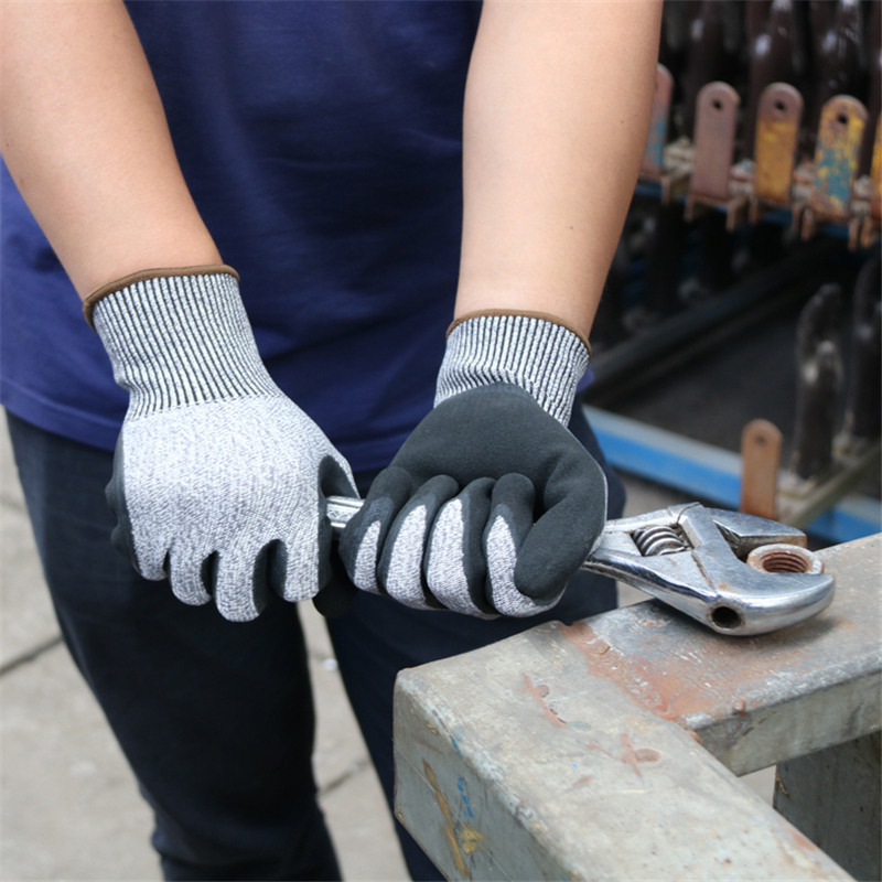 Image 4 - Construction Gloves GMG Grey Anti cut HPPE Shell Black Latex Sandy Coating Safety Work Gloves Cut Resistance Work Glove-in Safety Gloves from Security & Protection