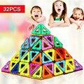 32 PCS Mini blocos de construção magnético brinquedos educativos criativos tijolos brinquedos para as crianças DIY modelo de carro de bloco de construção magnética
