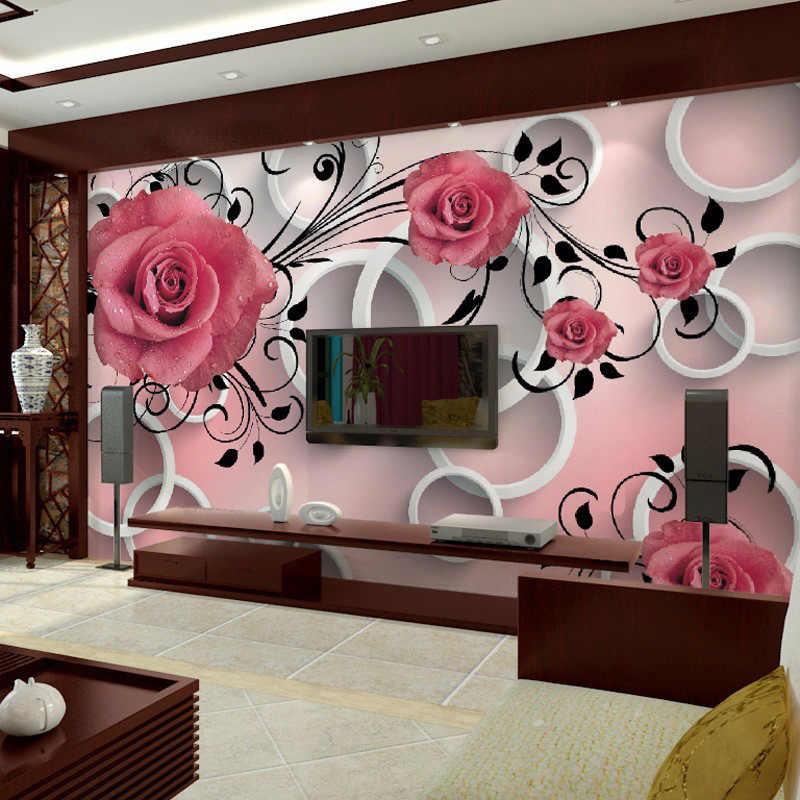 תמונה מותאמת אישית טפט 3D סטריאו ורוד פרח מעגל קיר קיר מודרני פשוט קיר סלון בד חדר שינה טלוויזיה רקע קיר 3 D