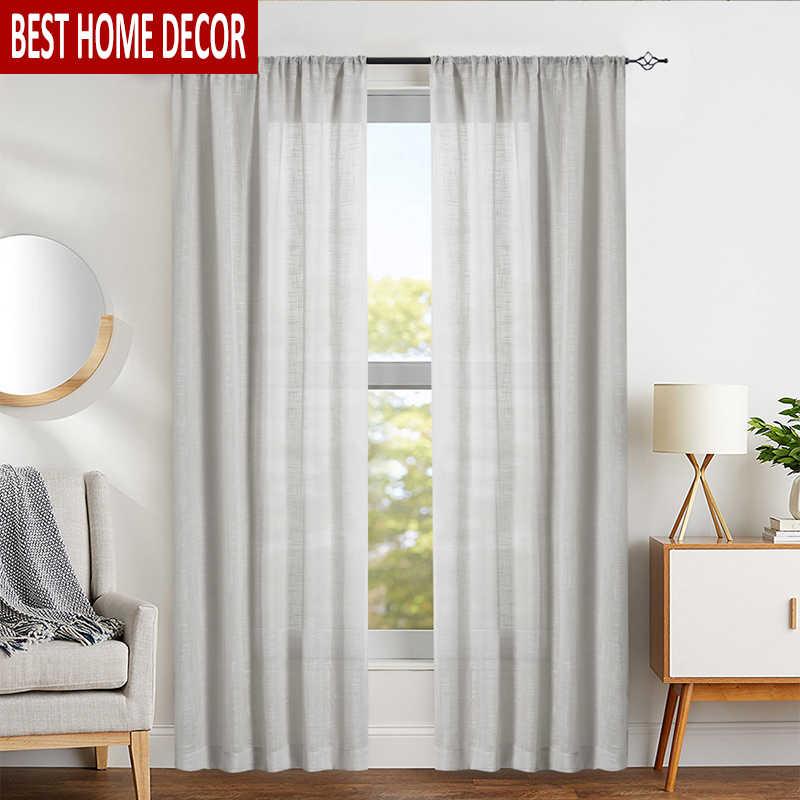 Elka льняная Современная Тюлевая занавеска s для гостиной, спальни, кухни, окна, вуаль, прозрачные готовые оконные занавески