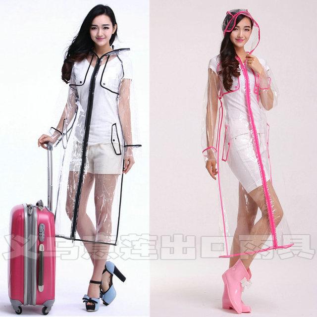 67476821788 Fashion EVA transparent waterproof women Long raincoat poncho windproof  clear rain coat with zipper outdoor jacket rainwear