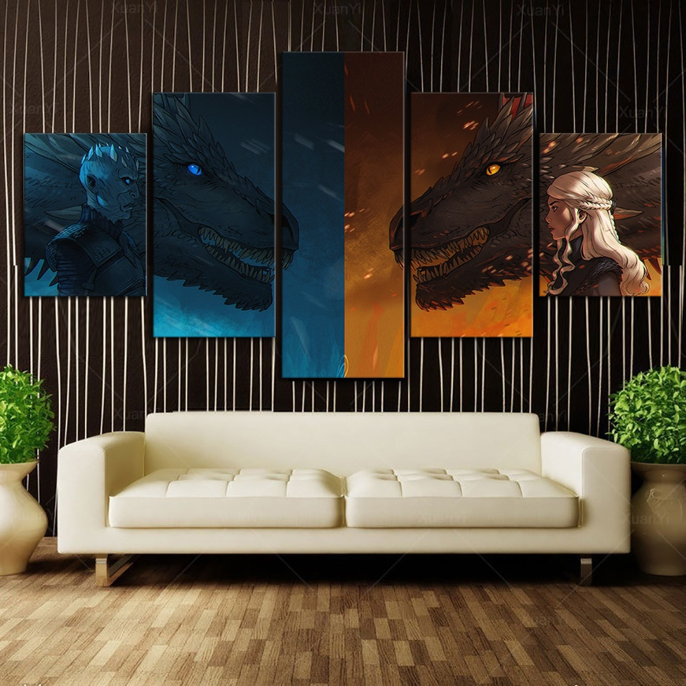 5 Piece HD Wall Art Cartoon Picture Printed Game of Thrones Movie Dragon Monther Posters Wall