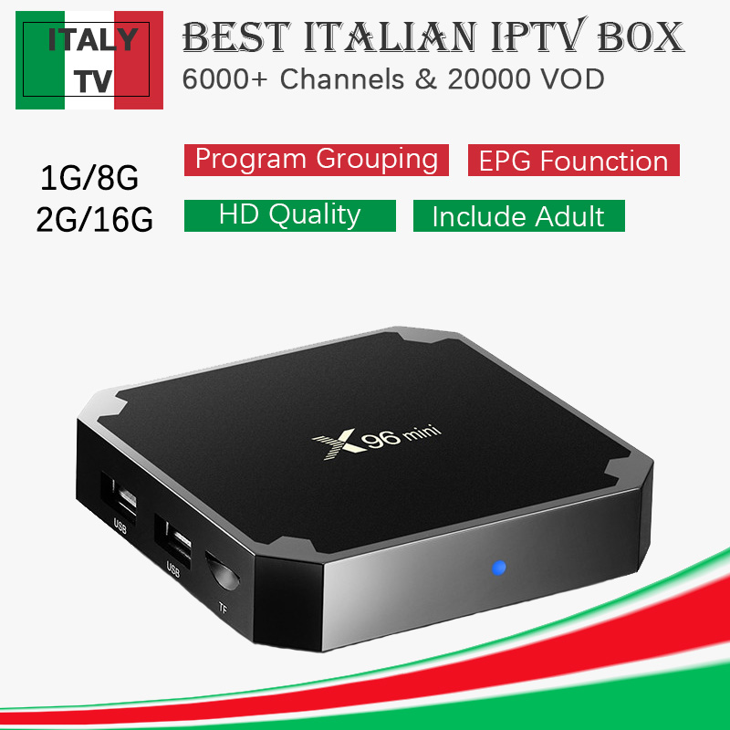 Best Italy Super IP TV Box X96 mini 4K Android Smart TV Box With 1 Year