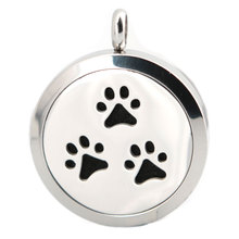 Silver Jewelry  Dog Paw Aromatherapy Essential Oil surgical Stainless Steel Pendant Perfume Diffuser Locket Necklace