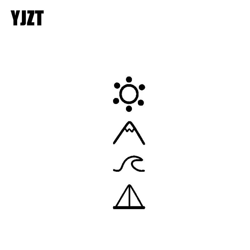 YJZT 3.1CM*12.7CM Adventure Travel Mountains Vinyl Motorcycle Car Sticker Decals Black/Silver C13-000440