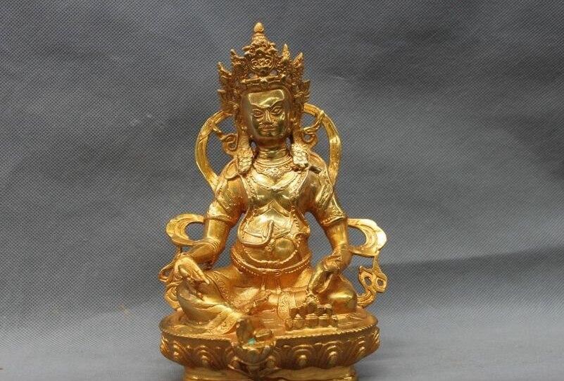 Tibet Buddismo Tempio Bronzo Rame dorato Giallo Jambhala Buddha Statua di un 0518Tibet Buddismo Tempio Bronzo Rame dorato Giallo Jambhala Buddha Statua di un 0518