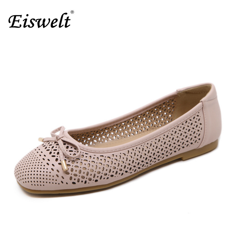 Eiswelt 2017 Fashion Women Shoes Women Ballet Flats Round Toe Casual Shoes Women Flats Sweet Hollow Shoes Bow-knot Shoes#EGMJ78 female high quality sweet bow knot plus size 35 44 round toe women shoes on flats casual footwear matching shoes and bags italy