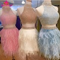 Stunning  A-line High Neck Beaded Two Piece Short Feather Cocktail Dresses 2017 robe de cocktail