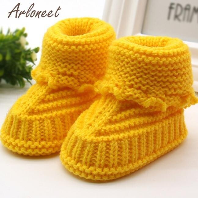 Обувь Детское вязание Кружево вязание крючком обувь Дети Твердые согреться детская обувь Впервые Уокер dec15 - Цвет: Цвет: желтый