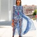 New arrival 2015 autumn vintage fashion blue white porcelain long maxi dress chiffon floor length bohemian stunning dresses
