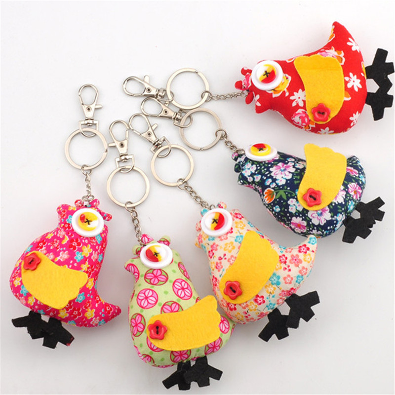 Korean Fashion Cute Lucky Chicken Cloth Toys Button Chickens Dolls Bag Phone Pendants 10cm 10pcs/lot button