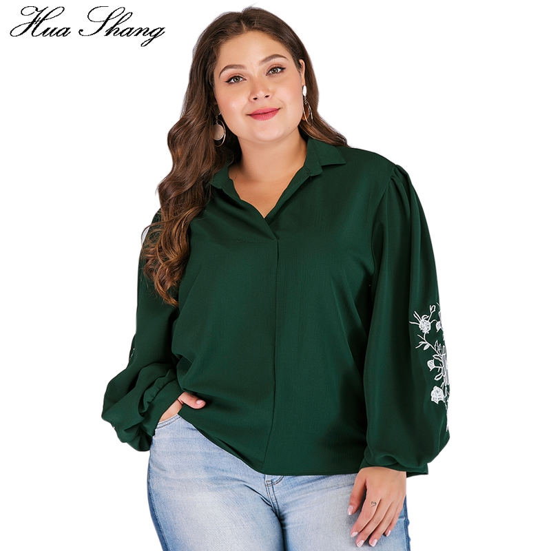 Spring Autumn Women   Blouse     Shirt   Turn Down Colloar Embrodiery Floral Long Sleeve   Blouse   Green Loose Plus Size Ladies Tunic Tops