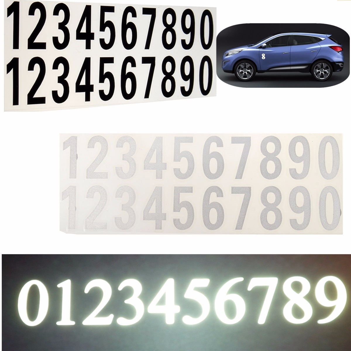 street address mailbox number car vinyl decal reflective stickers white blackchina mainland