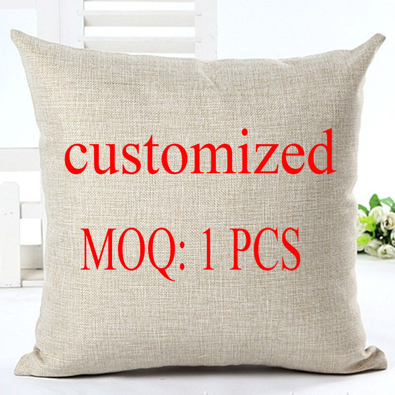 Customized Style Cushion Cover DIY Customized Throw Pillow Home Decorative Cotton Linen Square Printing Pillowcase