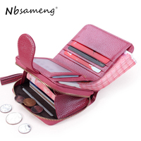 NBSAMENG 2018 Women Genuine Leather Short Trifold Wallets Mini Card Holder Purses Coin Zipper Purses Girls