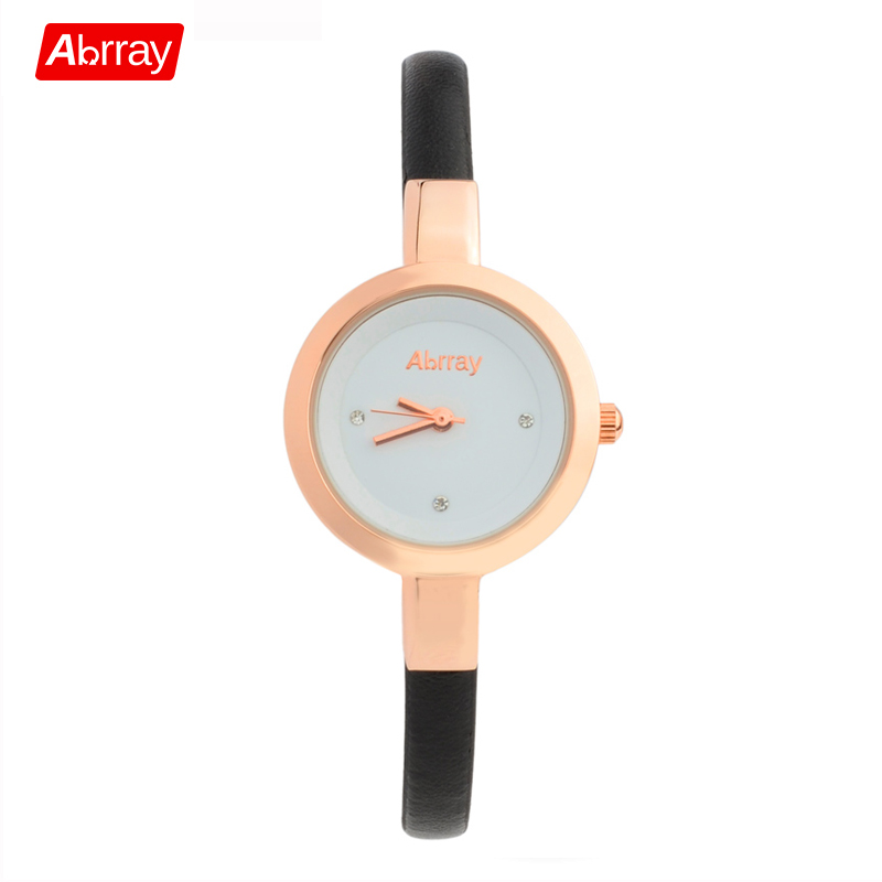 Abrray Waterproof Lady Wrist Watch Rose Gold Color Quartz Woman Hours Best Fashion Dress Slim Black PU Band Elegant Watches fashion lady s pu band quartz analog waterproof bracelet wrist watch black 1 x lr626
