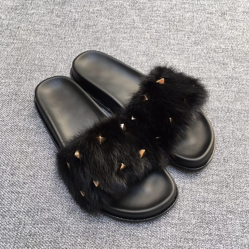 Wohnungen Pic Aw Slipper Top Schuhe Stil Echt Mit Marke Fur Pantoffel 41 Qualität As Frauen Niet Pelz as Pic Design Mode 35 vxx6qt7U