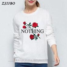 Rose print Womens Sweatshirt Nothing Print Thicken Sudaderas Mujer Long Sleeve Elegant Pullovers Harajuku Kawaii Tops