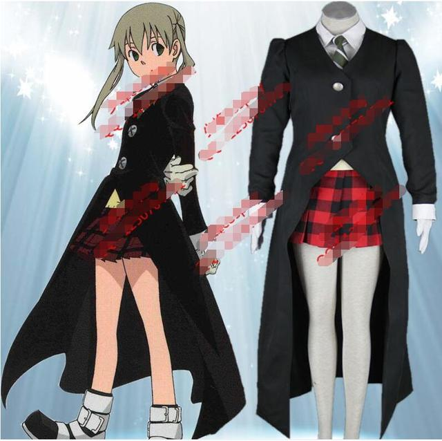 Soul Eater Maka Albarn Cosplay Costume Anime Cosplay Suits Full Suits Women  Halloween Coat+ Shirt+ Vest+
