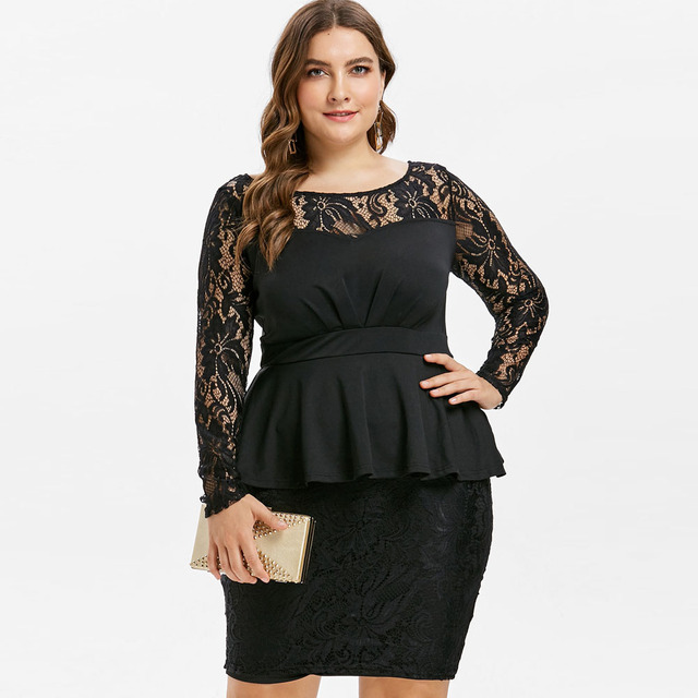 Kenancy Plus Size Lace Panel Peplum Dress Elegant Sexy Long Sleeves Black Party  Dress Women Bodycon Vintage Office Vestidos Robe 55956ae0673f