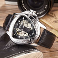 Unique Triangle Full Steel Luxury Luminous Automatic Mechanical Skeleton Dial Leather Band Wrist Watch Men Women Best Gift M141