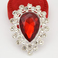 Silver Plated Water Drop Shaped Brooch Top Quality Elegant Red Crystal Women Broach