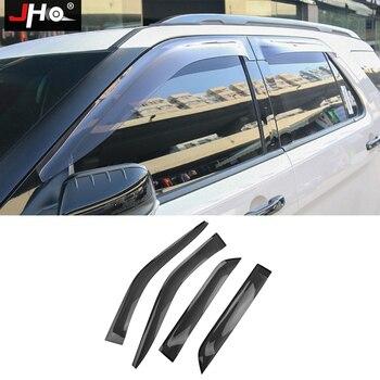 JHO Offroad Window Deflector Visor Awnings Sun Rain Guard Car Accessories For 2011-2019 Ford Explorer 2018 2017 2016 2015 2013