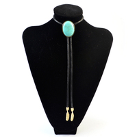 Imitation Blue Marble Necklace Bolo Tie for Women Men High Quality Natural Stone Neck Ties Leaf Pendant Necklaces Trendy Jewelry