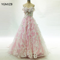 Vintage Ball Gown Long Prom Dresses 2018 Arabic Style Off Shoulder 3D Flowers Lace Pink Women