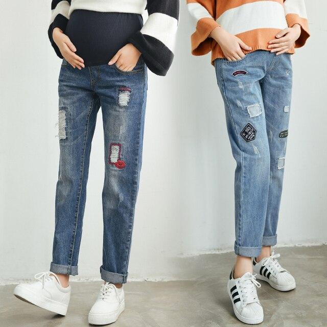 2016 зимой материнства джинсы брюки беременность высокая талия рваные джинсы для женщин леггинсы embarazada pantalones premama femme encein