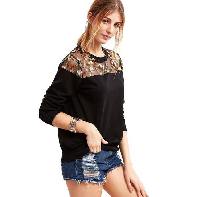 0aca213a4bfba Online Shop Oversized Gesticktes Embroidery Floral Blouse Women Sheer Top  Mesh Patchwork Shirts Long Sleeve Blouse Feminina Ladies Tops