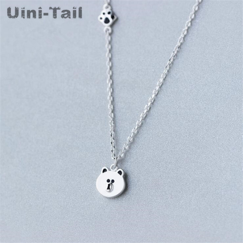 Uini-Tail hot 925 sterling silver sprouting bear necklace simple fashion bear pendant cute animal jewelry hypoallergenic GN614