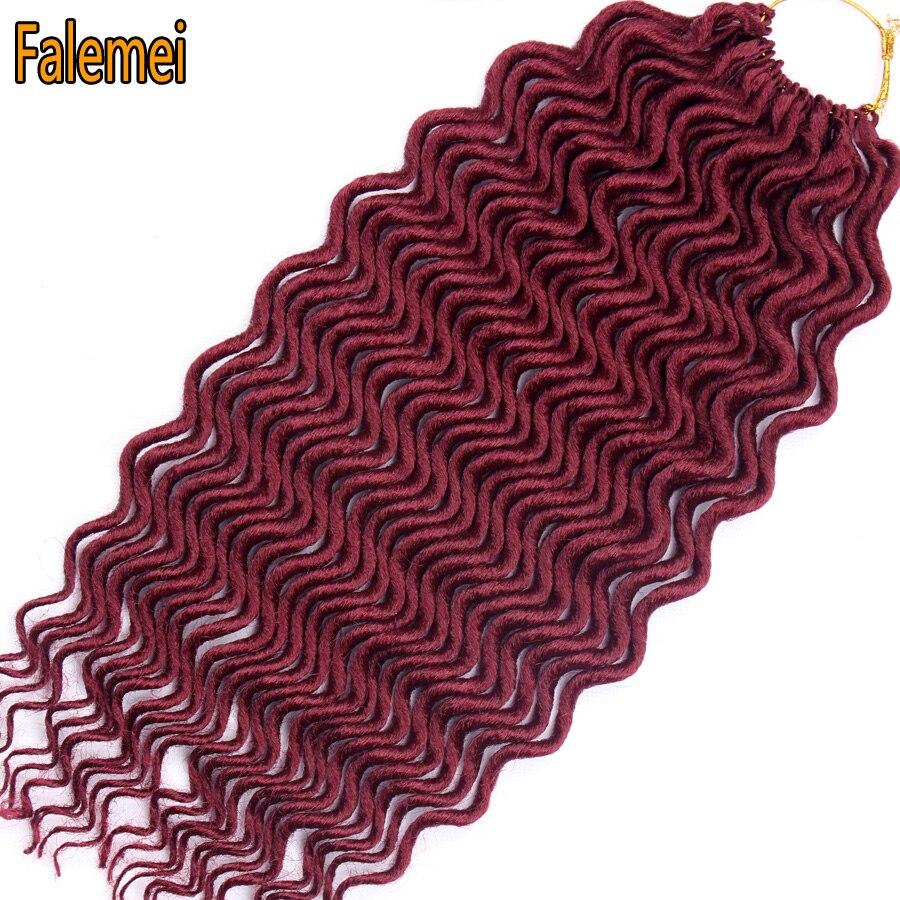 FALEMEI 18inch Faux Locs Curly Soft Hair(60g 24Roots/Pack) Deep Crochet Braids Locs Crochet Hair Extension Bohemian locks