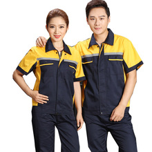 Reflective Uniform Men's Work Clothing Women Short Sleeve Coveralls Quick Dry Overalls for Worker Repairman Machine Auto Repair(China)