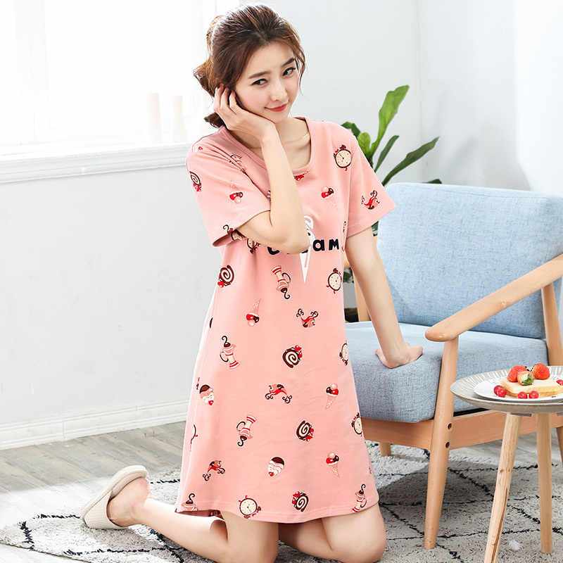 ... Bran New Cotton Nightgown Women Sweet Girl Lounge Cute Nightdress  Sleepwear Summer Home Dress Casual Nightwear ... 469afabfb