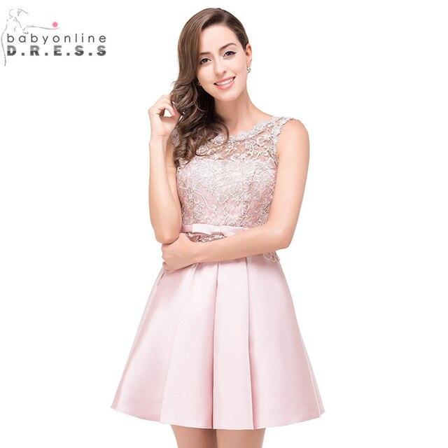 604e963c Vestido de Festa Curto Sexy de Encaje Rosa Cortos Vestidos de Fiesta 2017  imagen real sweet
