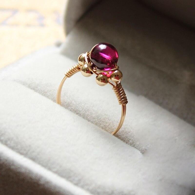 Fait à la main naturel 5A grenat anneaux personnalisé 14 or rempli cadeau d'anniversaire personnalisé Anillos Mujer Bague Femme anneaux pour les femmes