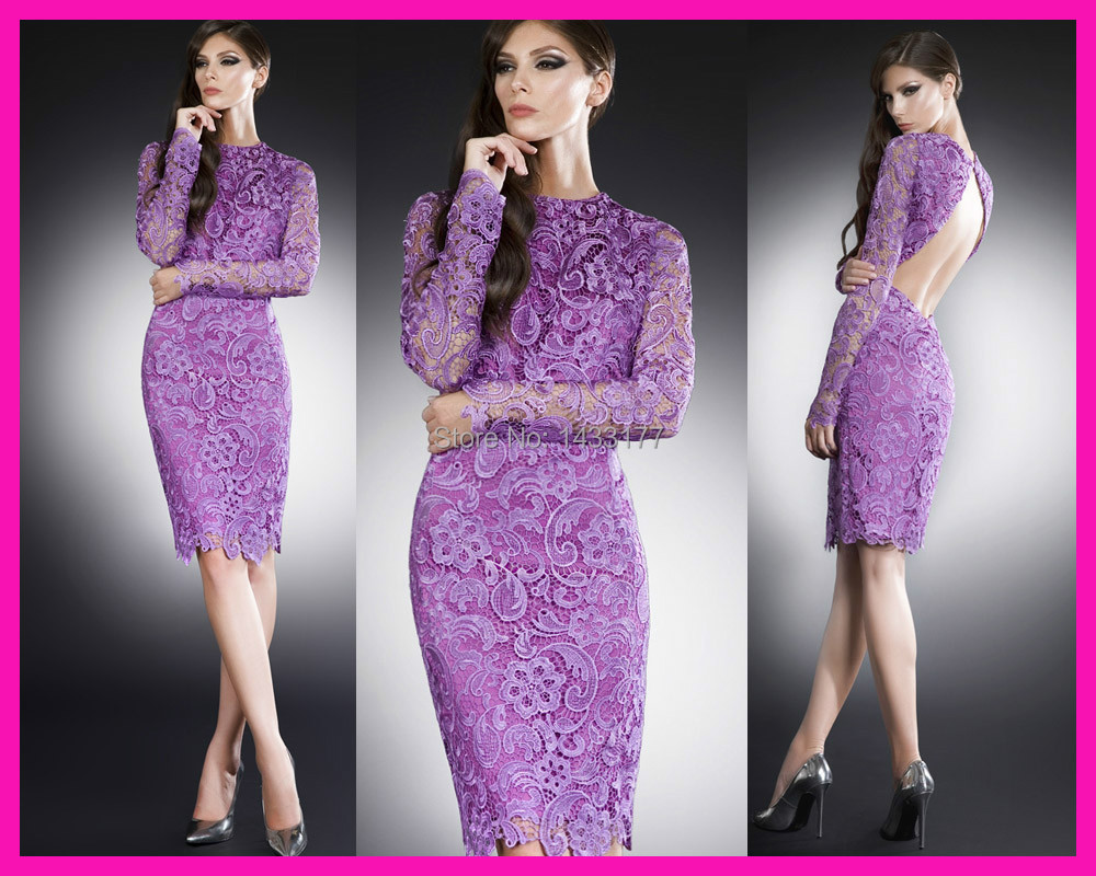 2014 Purple Sexy Backless Short Knee Length Lace Party Cocktail Evening Dress With Long Sleeves E5308