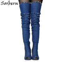 Sorbern Denim Blue Peep Toe Over The Knee Boots For Women Sexy High Heel Boots Prova Perfetto Ladies Shoes Size 34 48 Customized