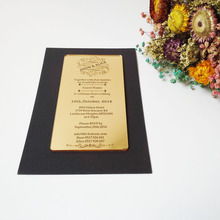 Customized 100*180mm laser engraved letters golden mirror acrylic wedding invitation card (1lot=100pcs)