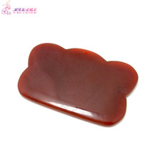 1 Pcs 100% natural red drilled Agate Guasha massage tool facial treatment scraping health body care