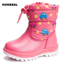 Winter Children Rubber Boots Boys Girls Round Toe Zip Snow Boots For Boys Cotton Fabric Platform