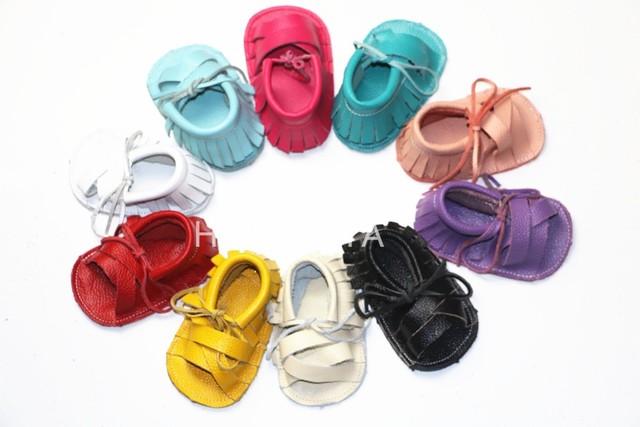 Los niños de Cuero Genuino Niñas princesa Borla zapatos de niños Zapatos de bebé de Verano de estilo gladiador zapatos De bebé Playa