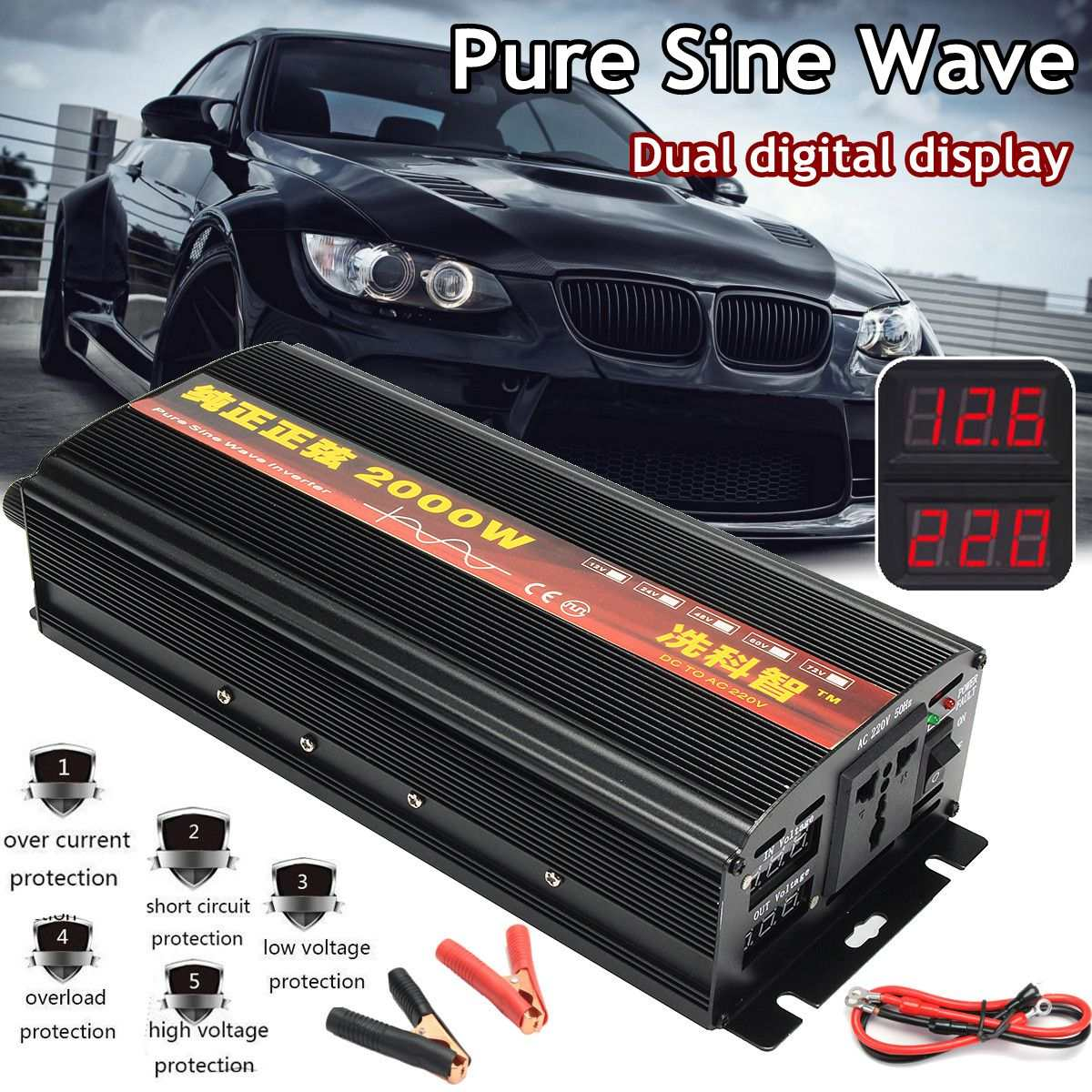 цена на Car Inverter Lot Power Inverter Pure Sine Wave DC12V to AC220V 2000W-4000W Solar Inverter Dual Digital Display